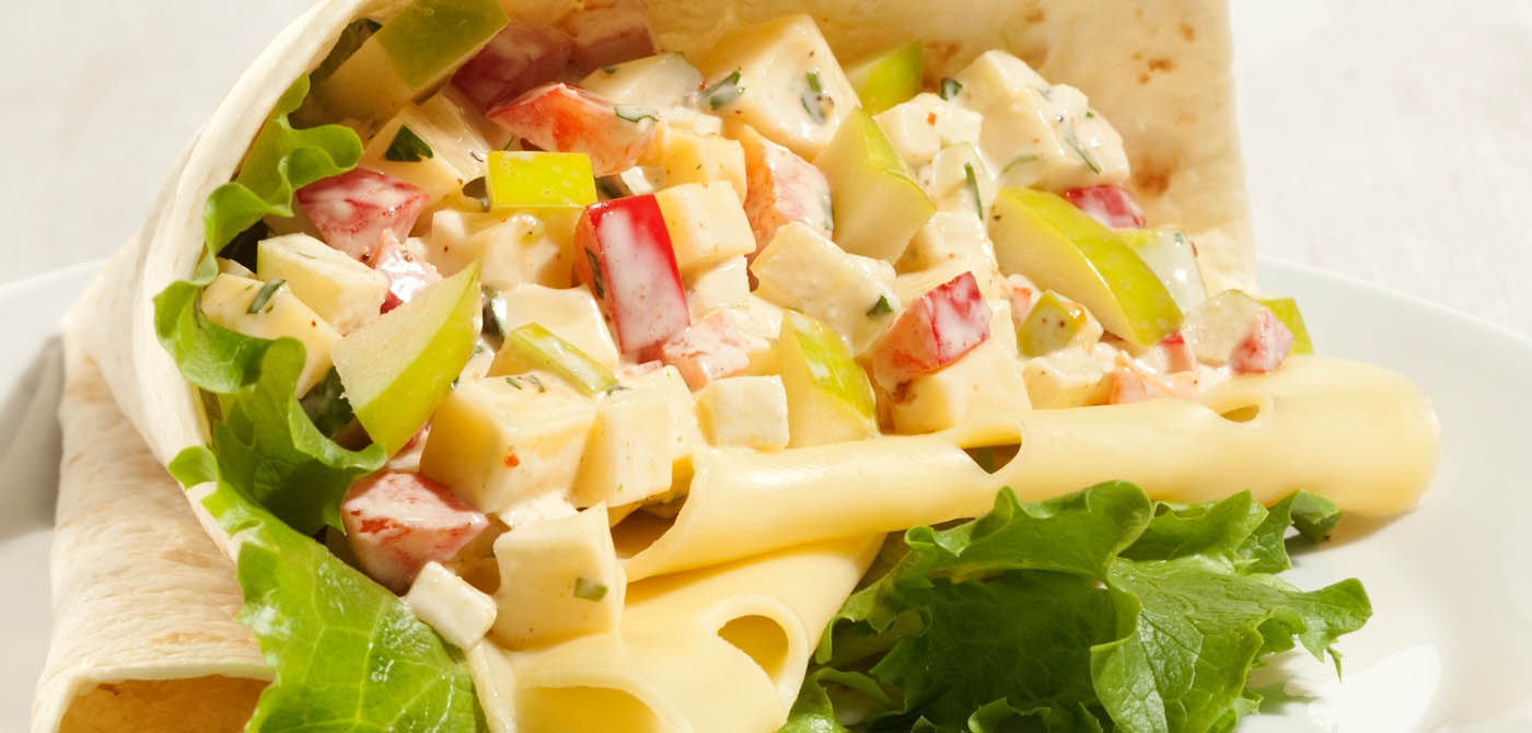 Wrap se salátem a se sýrem Leerdammer